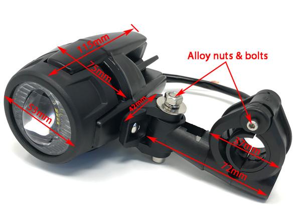 30W Motorbike Spotlights with Wiring & Switch Kit for Adventure Bike Quad Trike ATV