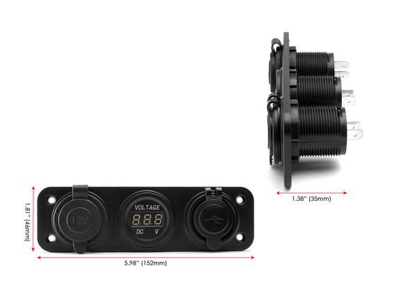 Quad ATV Trike 12V Socket + Twin USB Power Supply + Voltmeter - Dash Mount - for all Cars, Vans, 4X4, Trucks