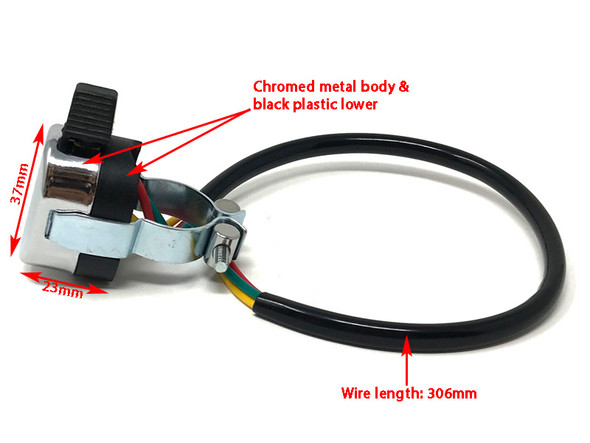 """Chrome Indicator / Turn Signal Switch to fit 1"""" (25mm) Handlebars - Lucas Replica"""