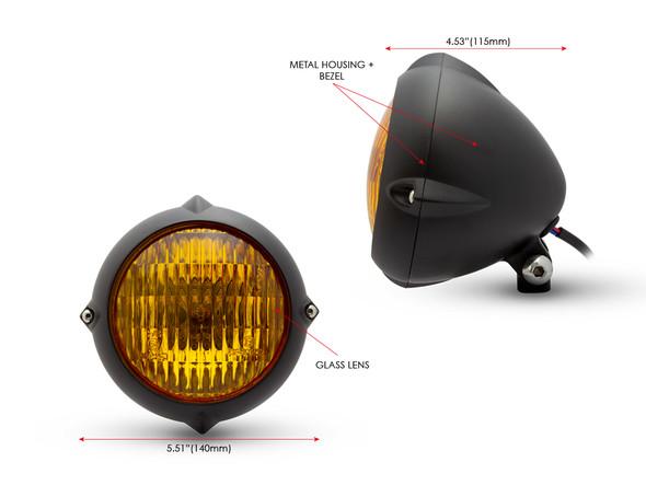 "5.5"" Headlight for Retro Custom Project - Matt Black with Yellow Lens"