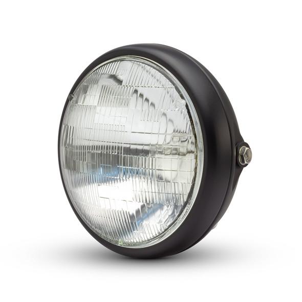 """Motorbike 7.7"""" Headlight Matt Black 12V 55W for Cafe Racer & Scrambler - SHALLOW"""