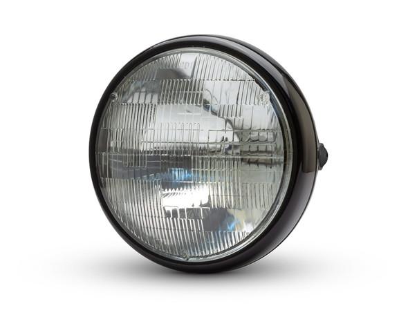 """Motorbike 7.7"""" Headlight Gloss Black 12V 55W for Cafe Racer & Scrambler - SHALLOW"""