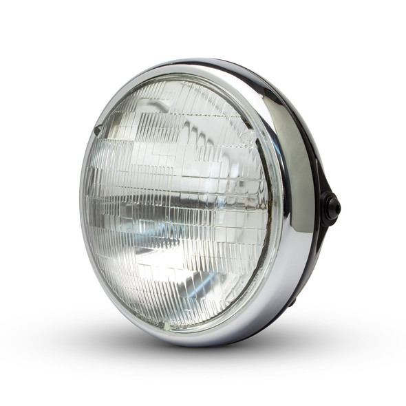 "Motorbike 7.7"" Headlight Black with Chrome Bezel 12V 55W Cafe Racer & Scrambler - SHALLOW"
