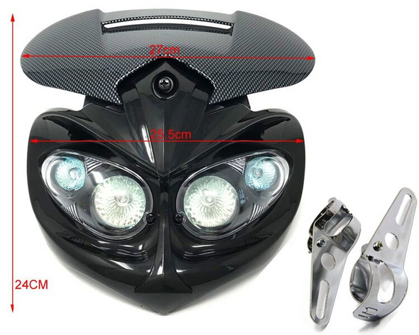 Motorbike Headlight & Brackets for Streetfighter Custom Project Bike Carbon Look