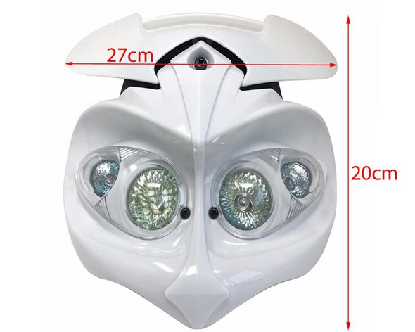 Motorbike Headlight & Brackets for Streetfighter Custom Project Bike - WHITE