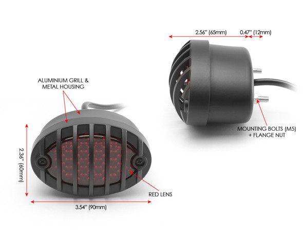 Motorbike LED Taillight Red Lens Prison Grill - Streetfighters & Custom Bikes