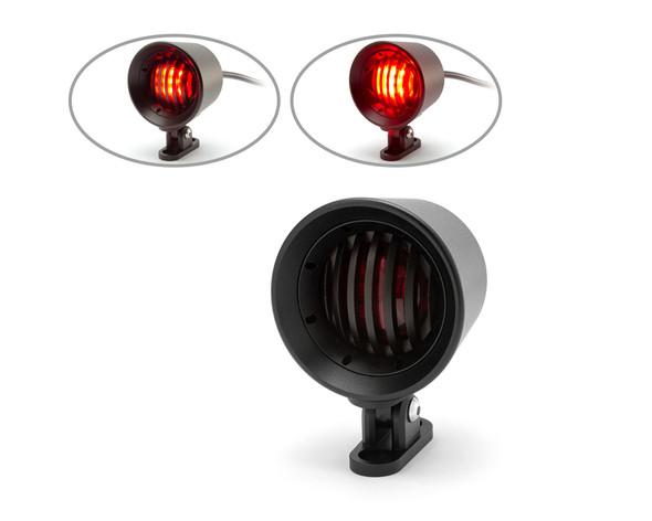 Motorbike LED Taillight Red Lens Prison Grill - Custom Bikes Cafe Racers Bobbers