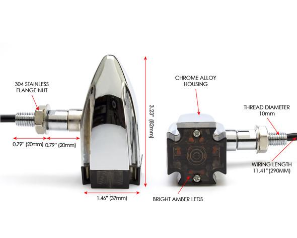 Motorbike LED Indicators - CHROME - Maltese Cross for Retro Project Custom Bikes
