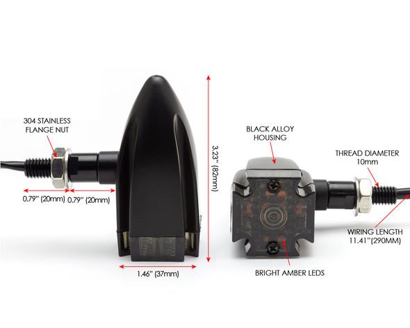 Motorbike LED Indicators - BLACK - Maltese Cross for Retro Project Custom Bikes