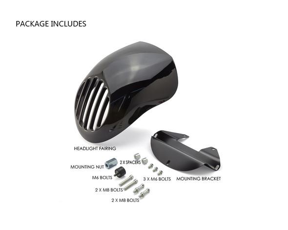 Motorbike Headlight Cowl Fairing for Harley Davidson Sportster & Dyna Models - Gloss Black