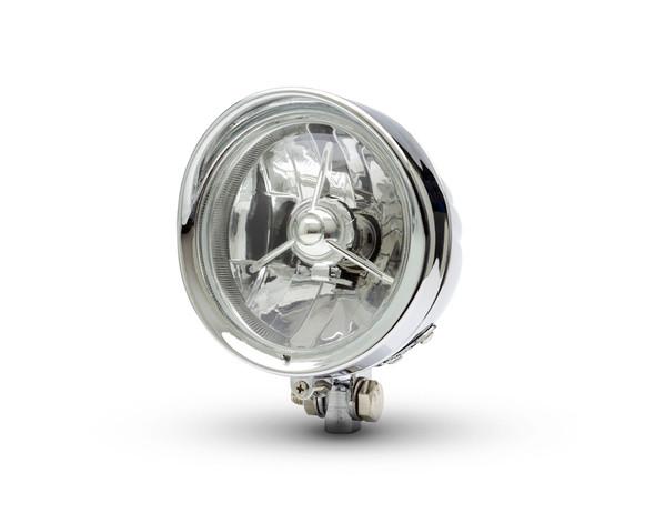 "Motorbike Headlight 5"" Chrome Metal for Custom Retro Vintage Project Bike Trike"