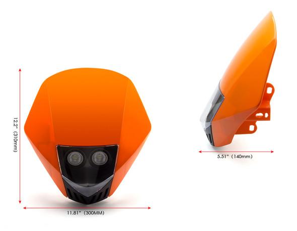 ORANGE Motorbike Headlight Mask - LED 12V 35W - Project Streetfighter Supermoto