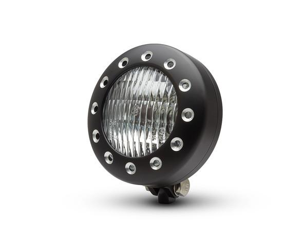 "Motorbike 5"" Headlight 12V 35W - Black Alloy with Drilled Bezel for Custom Retro Vintage Style Project Bike"