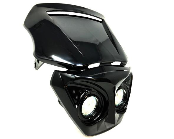 Motorbike Headlight Mask for Streetfighter or Cafe Racer Project - BLACK - 12V
