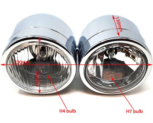 Motorbike Headlight Dominator Tracker Streetfighter Chrome Dual Twin HOMOLOGATED
