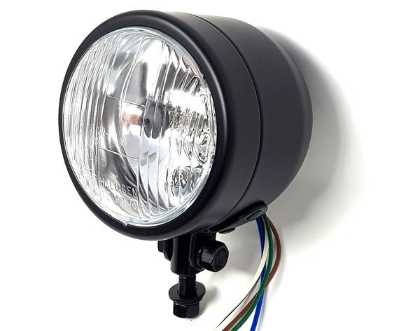 "Motorbike Headlight for Custom Project Bike - 4.5"" 4 1/2"" 12V Black - Homologated"