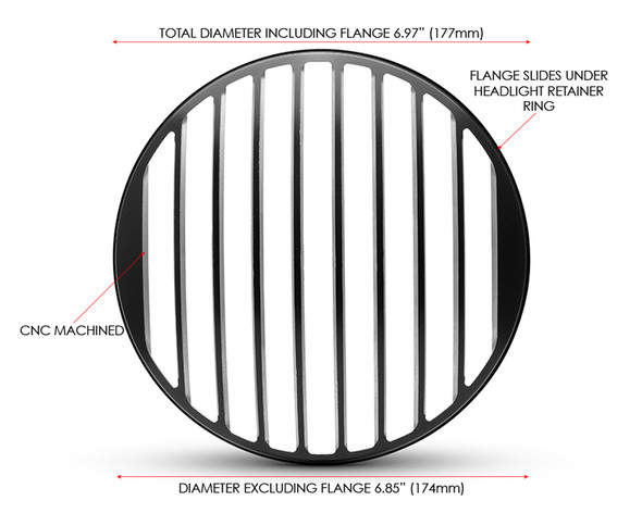 "Thin Prison Grill 7"" INCH Motorbike Headlight Cover Guard for Cafe Racer Scrambler Project Retro"