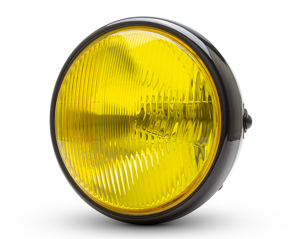 """7.7"""" Motorbike Headlight - Gloss Black with Yellow Lens for Scramblers & Cafe Racers"""