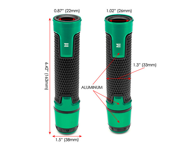 Green Motorbike Hand Grips & Bar Ends for 22mm bars - Anodised Aluminium - High Quality