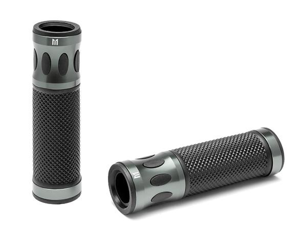 Grey Motorbike Hand Grips for 22mm bars - Anodised Aluminium - High Quality