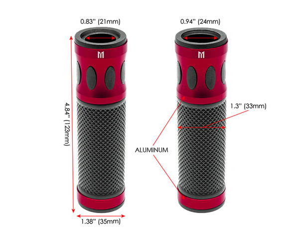 Red Motorbike Hand Grips for 22mm bars - Anodised Aluminium - High Quality