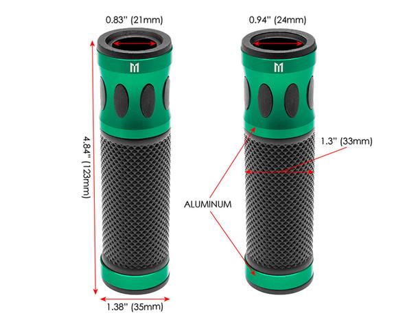 Green Motorbike Hand Grips for 22mm bars - Anodised Aluminium - High Quality