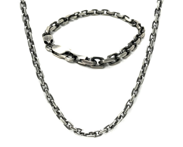 Men's Oxidised Sterling Silver Anchor Style Chunky Necklace with Matching Bracelet