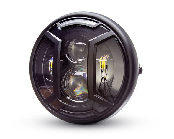 """Motorbike Headlight LED 7.7"""" with Armour Grill for Retro Cafe Racer & Scrambler"""