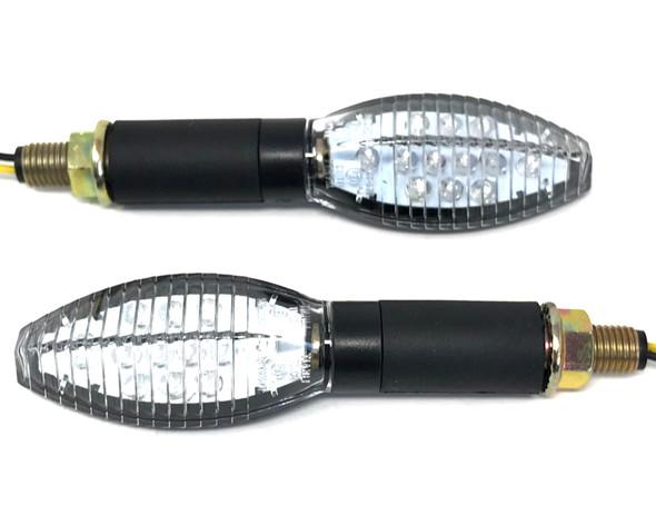 Motorbike LED Indicators - Oblong - PAIR - BRIGHT - Good Quality