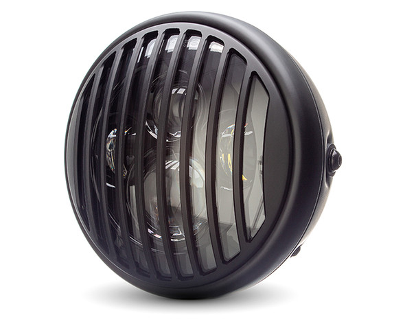"""Motorbike Headlight LED 7.7"""" with Prison Grill for Retro Cafe Racer & Scrambler"""