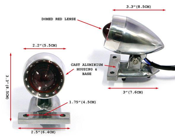 Motorbike LED Stop Taillight - Polished Ally for Custom Retro Vintage Project