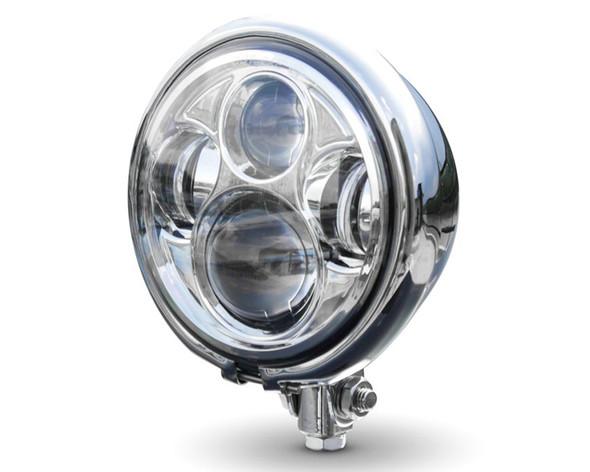 "Motorbike LED Headlight 5.75"" Bates Style - CREE - Daymaker for Vintage Retro Custom Project - CHROME"