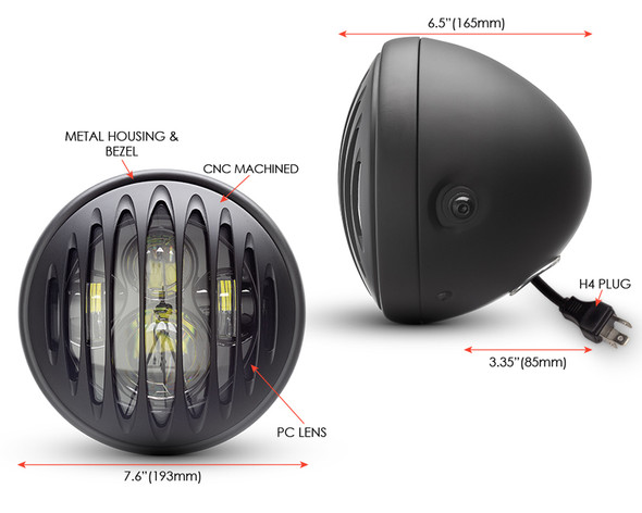 """Motorbike Headlight LED 7.7"""" with Vertical Grill for Retro Cafe Racer & Scrambler"""
