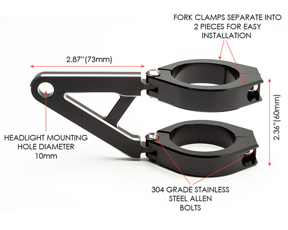 Headlight Brackets with Short Arms for Custom Project Bike