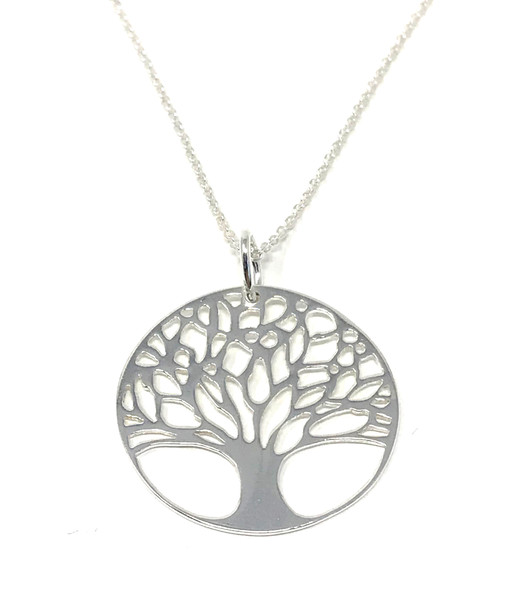 Ladies Sterling Silver Cut Out Tree of Life Pendant Necklace