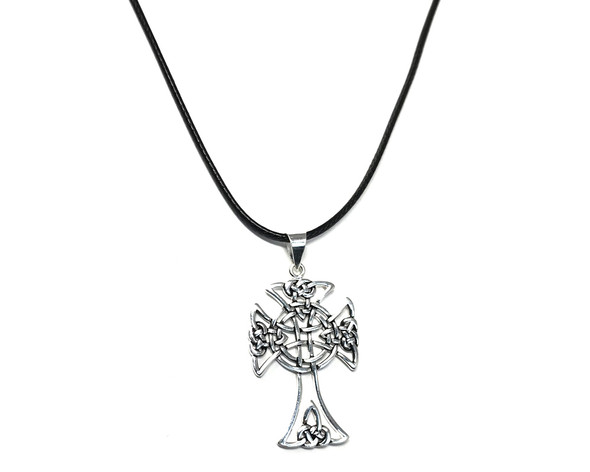 Sterling Silver Open Celtic Knot Cross on 41-46 Leatherette Necklace