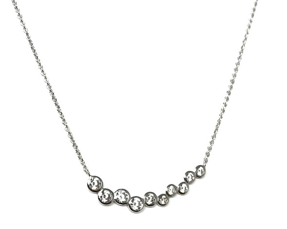 Sterling Silver Necklace with Graduated Rubbed Over Cubic Zirconia Stones 45cm
