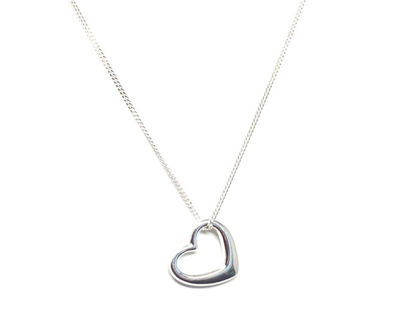 Sterling Silver Love Heart Pendant on 41cm / 16in Chain