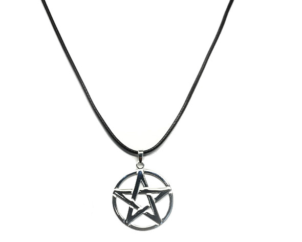 Sterling Silver Pentacle Pendant on 41-46 cm Leatherette Necklace