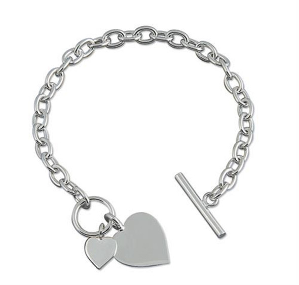 Sterling Silver Bracelet with Double Heart Tag with Bar and Ring (Toggle) Fastening