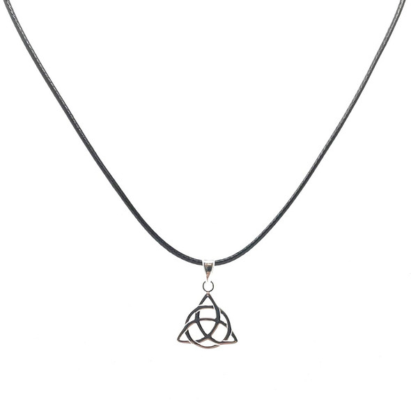 Sterling Silver Triquetra Trinity Knot Pendant on 41-46cm Leatherette Cord Necklace
