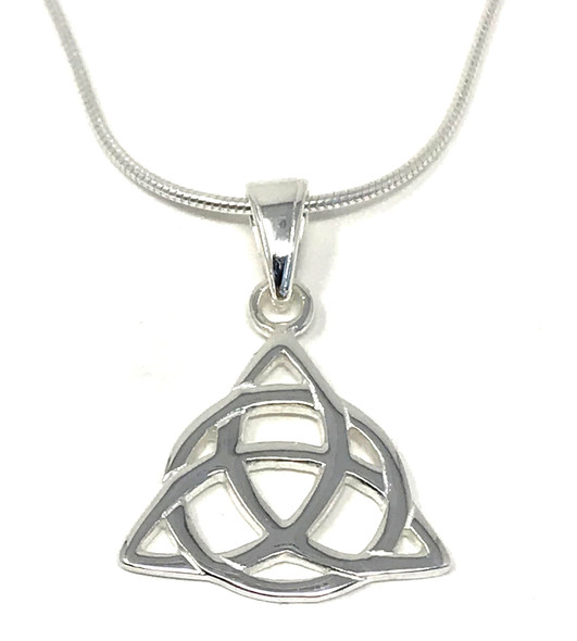 Sterling Silver Triquetra Trinity Knot Pendant on Snake Chain