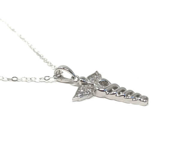 Silver Caduceus Pendant with Cubic Zirconia on 46 cm Fine Silver Chain