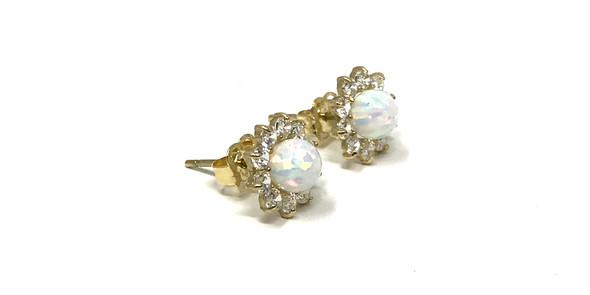 9ct Gold Opal and Cubic Zirconia Cluster Stud Earrings