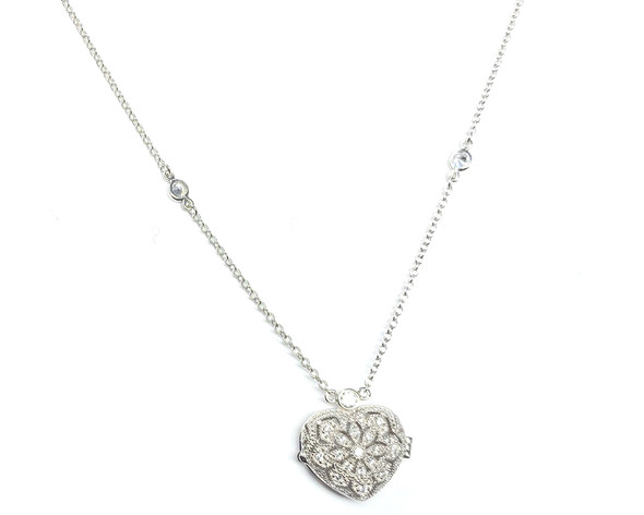 Vintage Style Cubic Zirconia Heart Locket on 41-46cm Chain in Sterling Silver