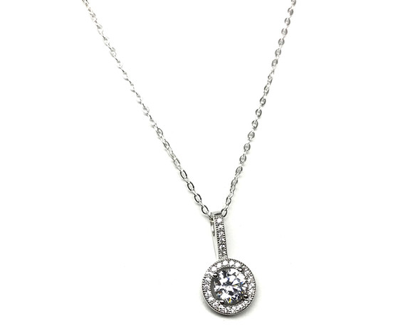 Ladies Sterling Silver Micro Set Cubic Zirconia Halo Pendant on a 46cm Fine Chain