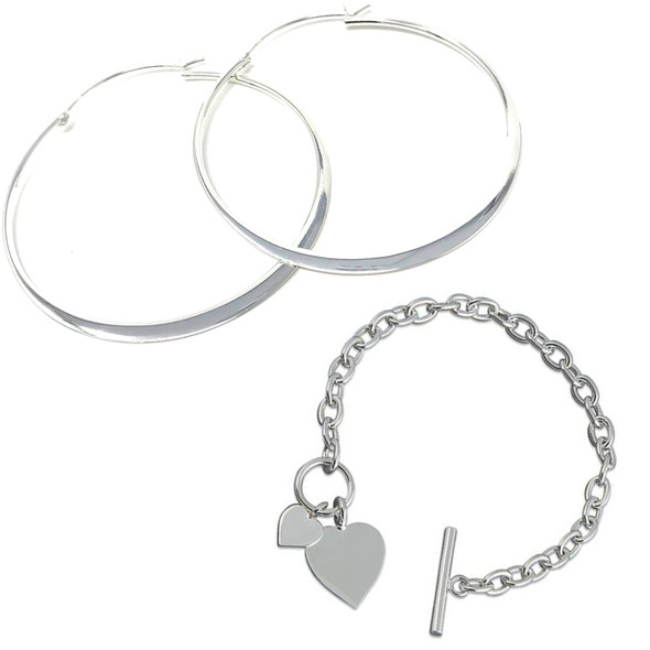 Sterling Silver Hoop Earrings and Double Heart Tag Bracelet Gift Set