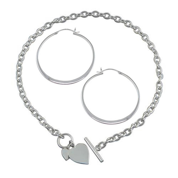 Sterling Silver Hoop Earrings and Double Heart Tag Necklace Gift Set