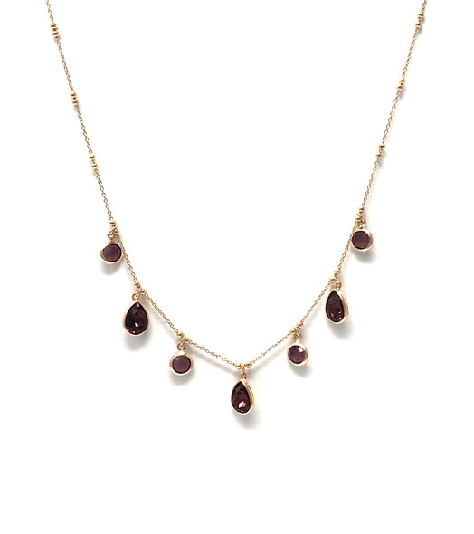 Rose Gold Plated Chain Necklace with Purple Pear Drop Swarowski Crystals