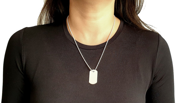 Sterling Silver Dog Tag Necklace Pendant on 51 cm Bead Chain